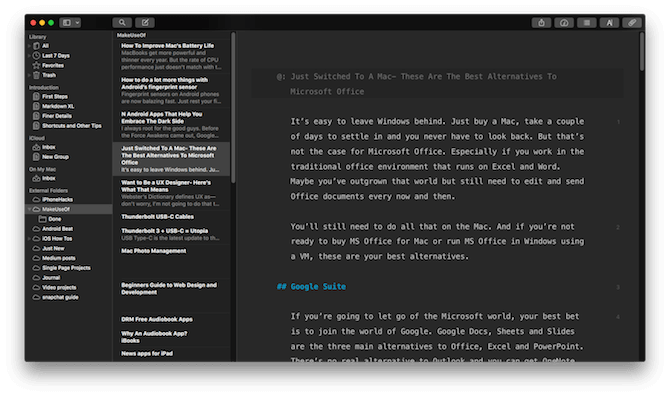 mac office alternatives ulysses markdown
