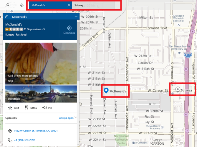 Windows Maps vs. Google Maps: 7 Features Windows Does Better microsoft maps layered results 669x500