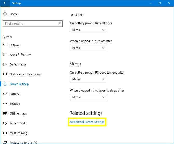 Windows 10 Additional Power Settings