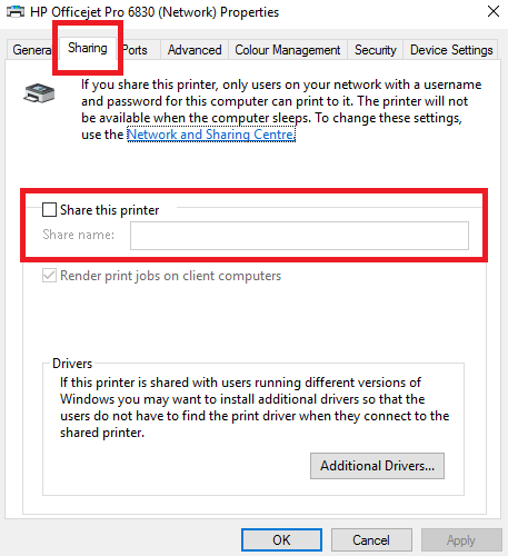 The 3 Easiest Ways to Share a Printer Over a Network window 10 share printer share tab 457x500