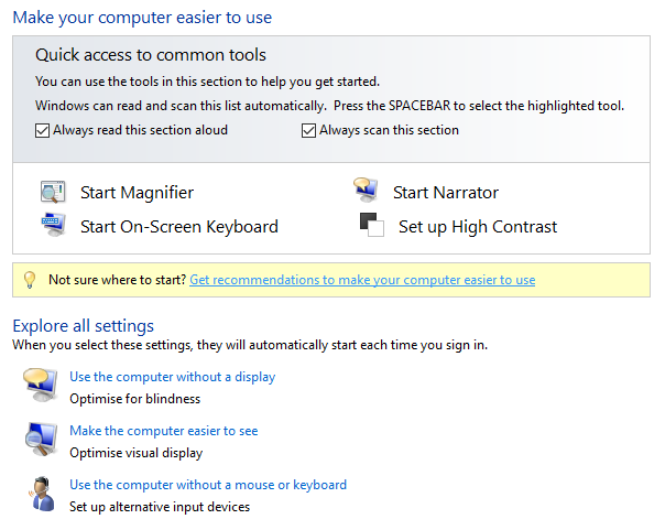 A Brief Guide to Windows 10 Accessibility Tools windows10 control panel access tools
