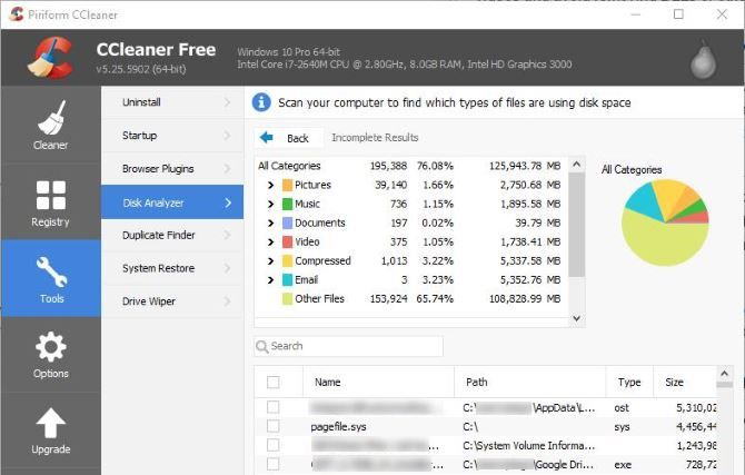 6 CCleaner Tips and Tricks to Effectively Clean Your Computer 05 CCleaner Disk Analyzer