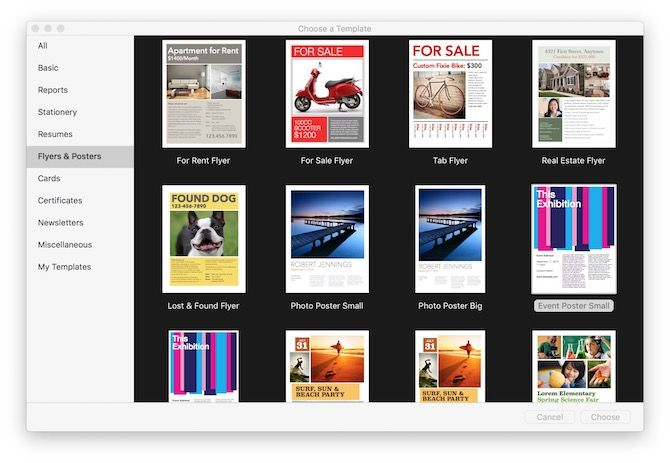 how to create impressive pages documents and templates on mac choose a template