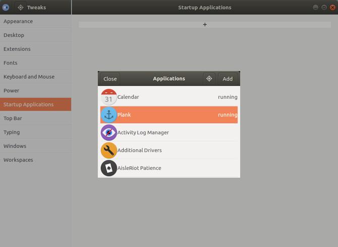 Выберите док Plank на рабочем столе GNOME