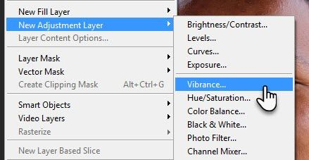 Create a Vibrance Adujstment Layer