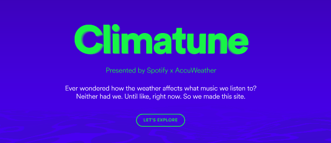 Spotify Now Shows Music According to Weather climatune spotify accuweather music playlist