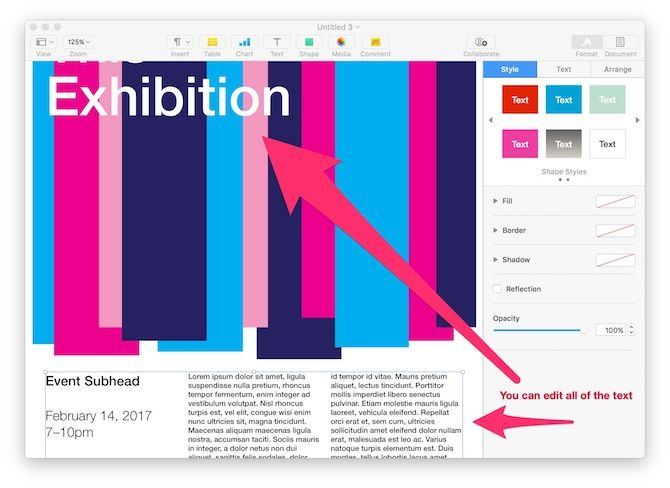 How to Create Impressive Pages Documents and Templates on Mac edit text