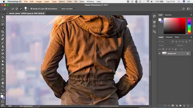How to Change the Background of a Photo in Photoshop fine tune selection