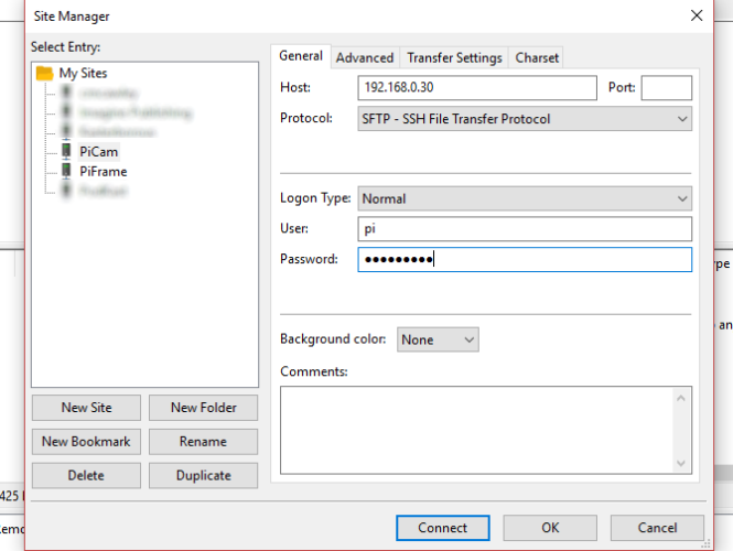 SSH over FTP with FileZilla