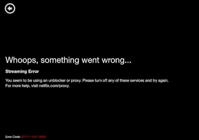 Netflix VPN error code for streaming