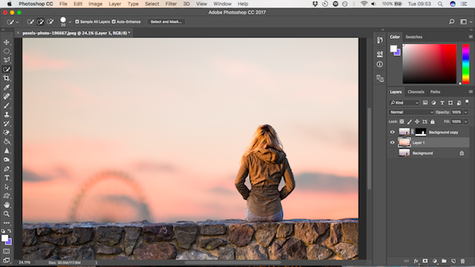 How to Change the Background of a Photo in Photoshop paste background