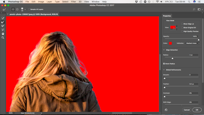 How to Change the Background of a Photo in Photoshop refine edge done