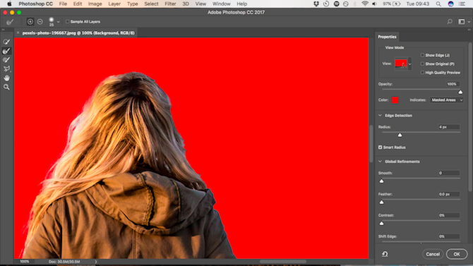 How to Change the Background of a Photo in Photoshop refine edge
