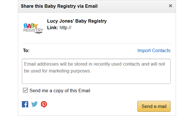 amazon baby registry email share box