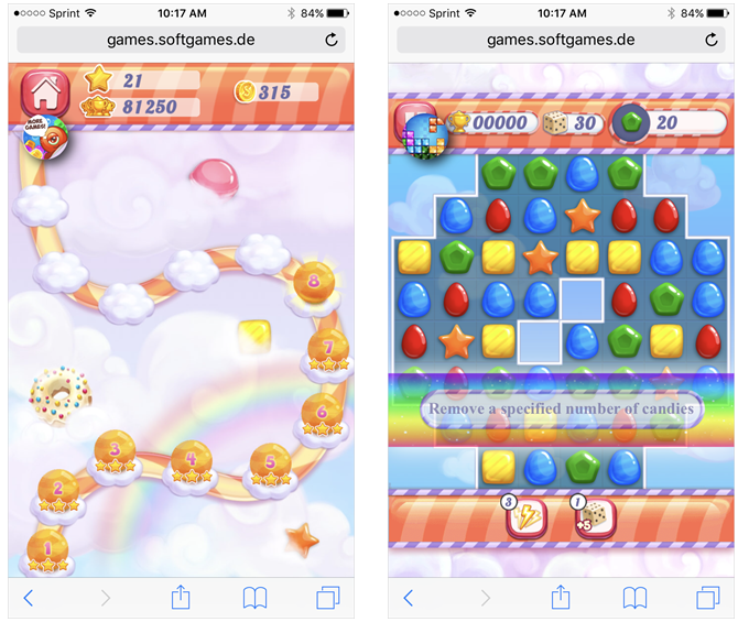Candy Rain 2 Mobile Browser
