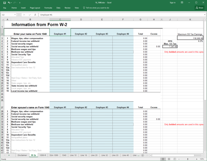 excel1040 w2 tax form