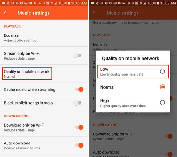 How to Reduce Mobile Data Usage When Streaming Music GooglePlayMusic 565x500