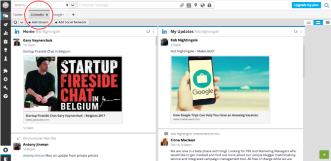 LinkedIn Streams Hootsuite