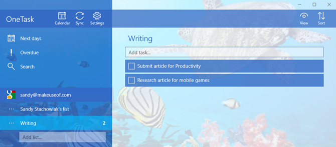 one task windows app