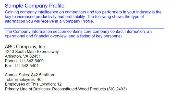 How to write a company profile and the templates you need sample company profile fbccfo Choice Image