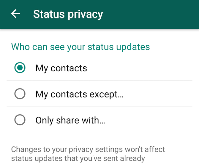 New WhatsApp feature: status and privacy