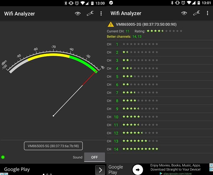 Improve Your Wi-Fi Signal at Home & Outside with These Android Apps Wi Fi Analyzer Screenshot Two