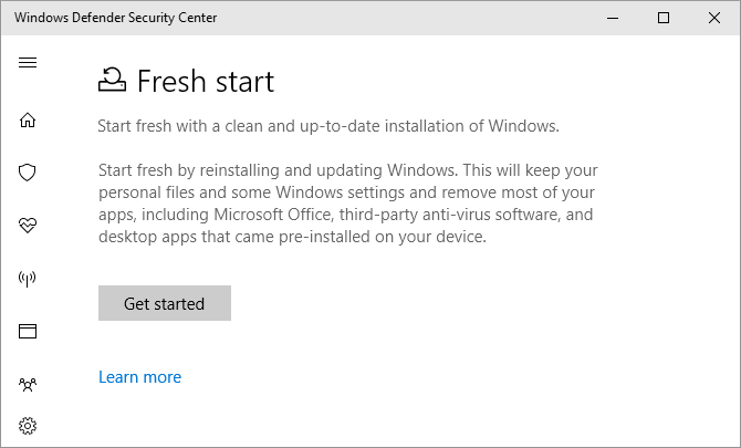 windows 10 defender fresh start