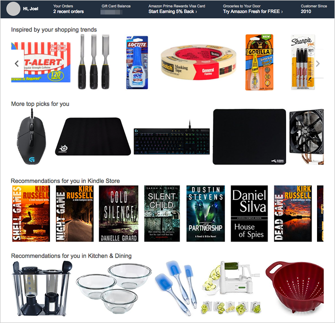 Shopping vs. Privacy: What Does Amazon Know About You? amazon recommendations interest profile