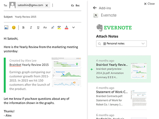 evernote outlook