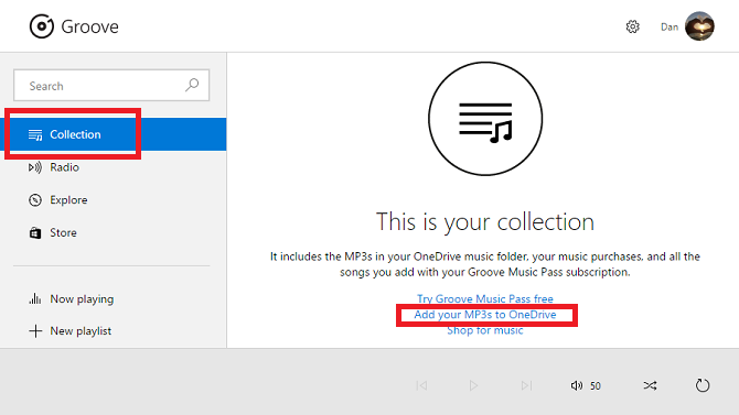 groove music add to onedrive