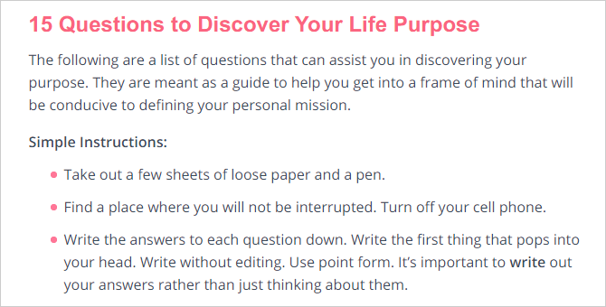 How to Find Your Life Purpose With These Online Tests life purpose 15 questions