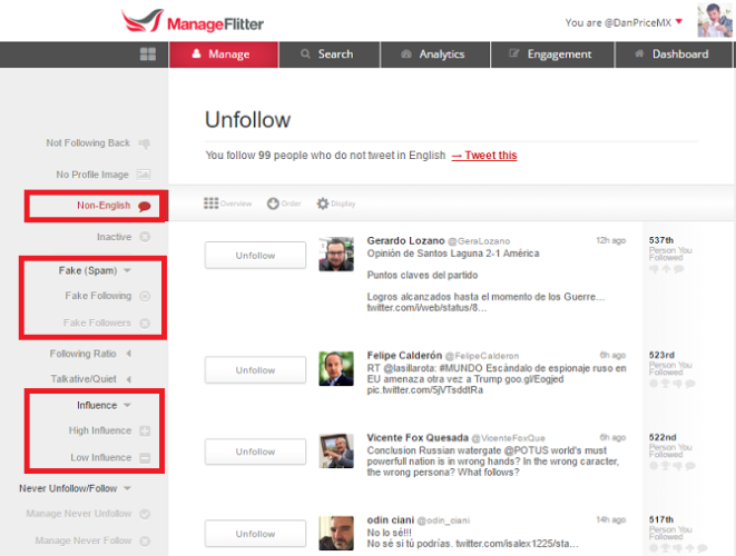 Twitter tools: ManageFlitter