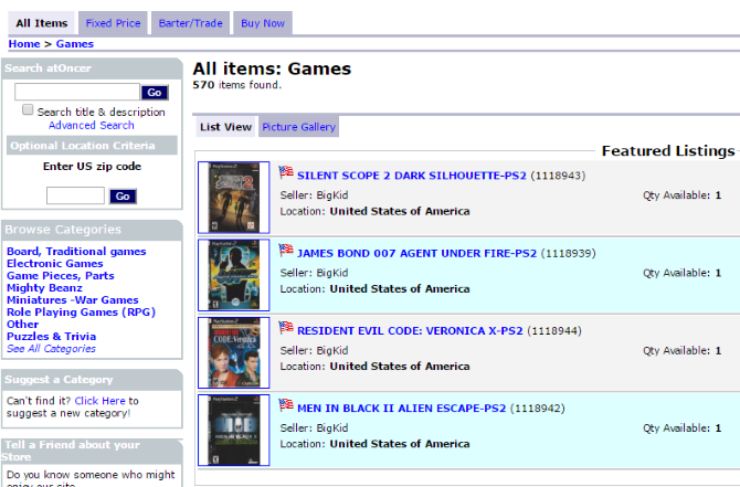 atoncer used games listing
