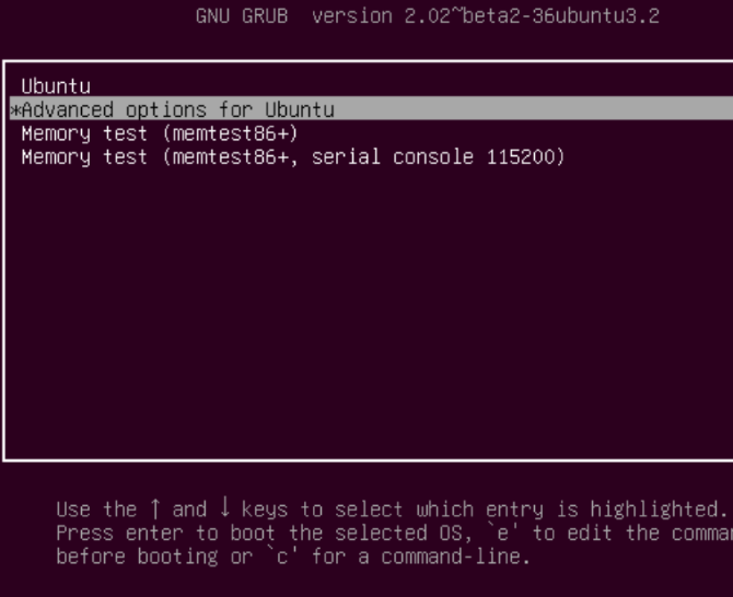 grub ubuntu advanced options