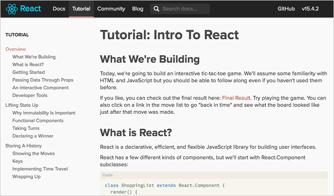 7 Best Free Tutorials for Learning React and Making Web Apps react tutorial official documentation