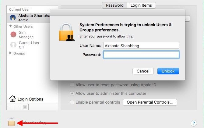 mac unlock users and groups