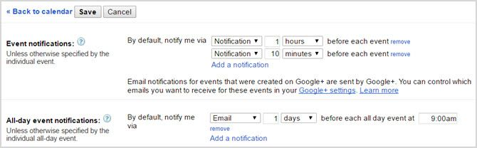 google calendar adjust notification web