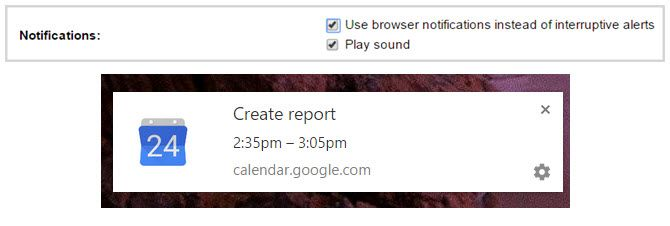 google calendar browser notification chrome