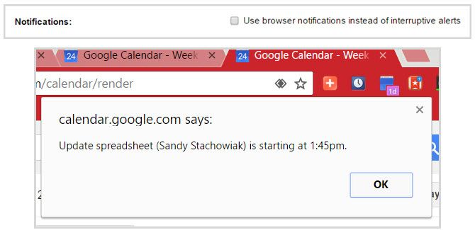 google calendar interruptive alerts chrome