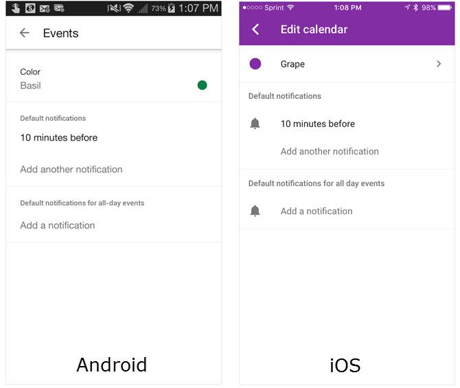 google calendar notifications mobile