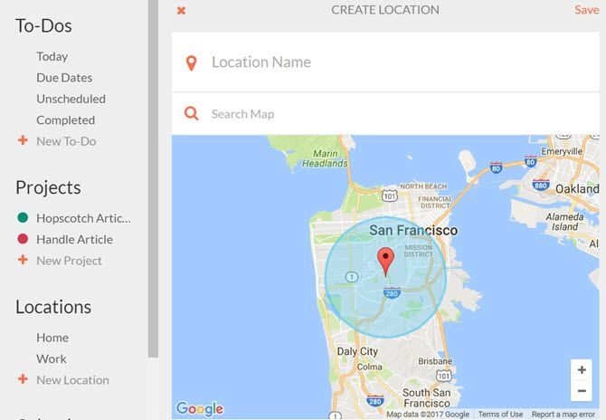 handle for gmail create location
