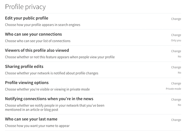 linkedin profile privacy