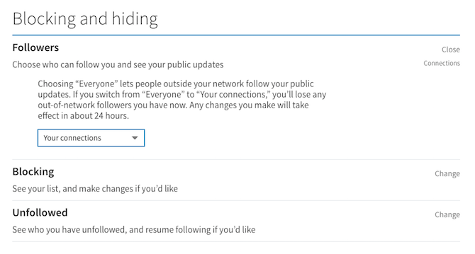 linkedin blocking hiding