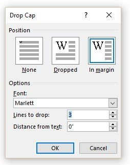 Microsoft Word - Drop Cap Options Box