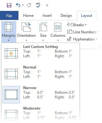 Microsoft Word - Set margins