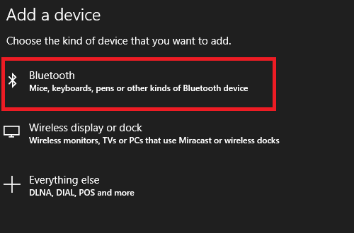 add bluetooth screen windows 10