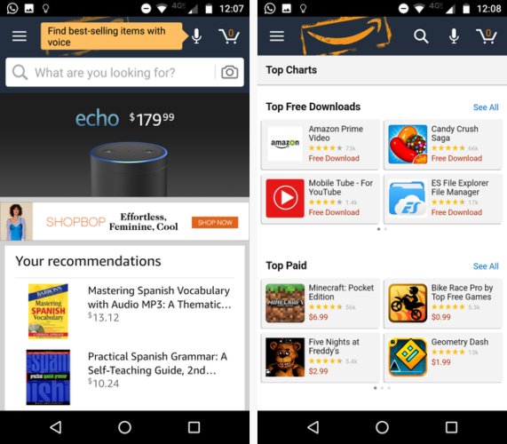 amazon app store apps missing