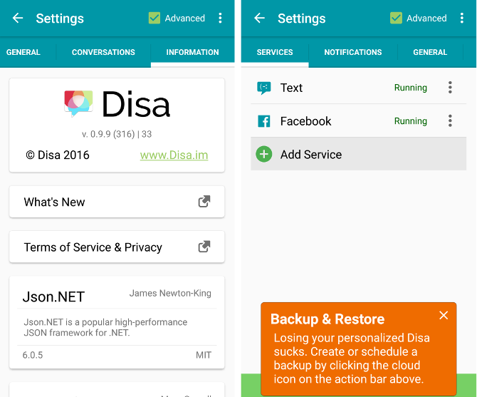 disa example app hangouts replacement