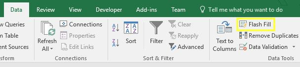 flash fill button excel