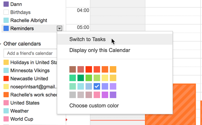 google calendar switch tasks
